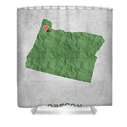 I Love Portland Oregon- Green Shower Curtain