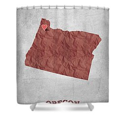 I Love Portland Oregon- Red Shower Curtain
