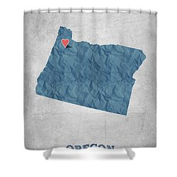 I Love Salem Oregon- Blue Shower Curtain