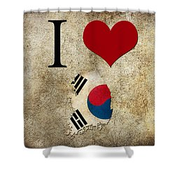 I Love South Korea Shower Curtain