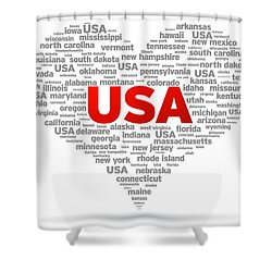 I Love Usa Shower Curtain by Aged Pixel