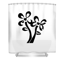 Shower Curtain featuring the drawing I Love You Flowers by Tamir Barkan