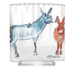 I Love You Donkey Art Watercolor Painting By Kmcelwaine Shower Curtain