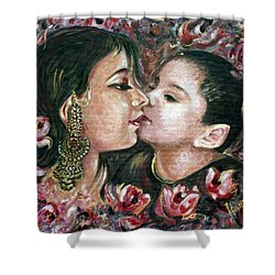 Shower Curtain featuring the painting I Love You Mom by Harsh Malik