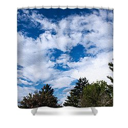 I See A White Cloud Looking At Me Shower Curtain by Omaste Witkowski