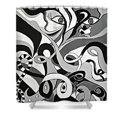I Seek U - Abstract Eye Paintings, Black And White Eye Art - Ai P. Nilson Shower Curtain