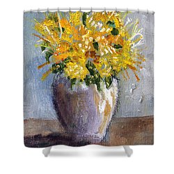 Shower Curtain featuring the painting I Think Of Spring by Michael Helfen