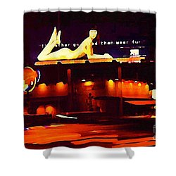 I Would Rather Go Naked Than Wear Fur Billboard Shower Curtain by Johnn Malone