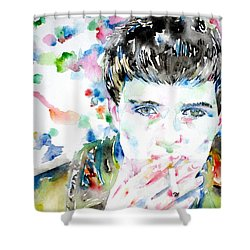Ian Curtis Smoking Cigarette Watercolor Portrait Shower Curtain by Fabrizio Cassetta