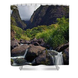 Iao  Storm Shower Curtain by Mike  Dawson
