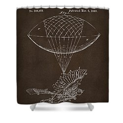 Shower Curtain featuring the drawing Icarus Airborn Patent Artwork Espresso by Nikki Marie Smith