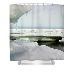 Shower Curtain featuring the photograph Ice Barrow Alaska July 1969 By Mr. Pat Hathaway by California Views Mr Pat Hathaway Archives