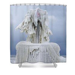 Ice Covered Warning Tower Along Lake Michigan In St. Joseph Michigan Shower Curtain