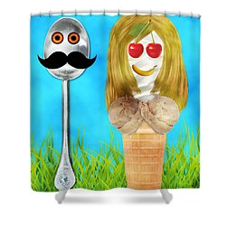 Shower Curtain featuring the digital art Ice Cream Couple by Ally  White