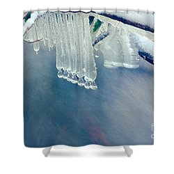 Ice Drops Over Stream Shower Curtain by Dan Friend