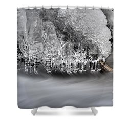 Ice Formation Above Stream Shower Curtain by Dan Friend