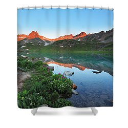 Ice Lake Sunrise Shower Curtain