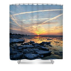 Shower Curtain featuring the photograph Ice On The Delaware River by Ed Sweeney