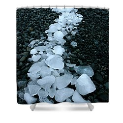 Shower Curtain featuring the photograph Ice Pebbles by Amanda Stadther