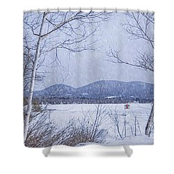 Shower Curtain featuring the photograph Ice Shack by Alana Ranney