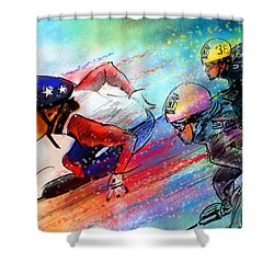 Ice Speed Skating 02 Shower Curtain by Miki De Goodaboom