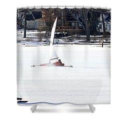 Ice Yacht Race Shower Curtain