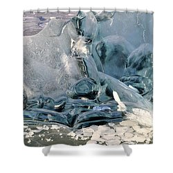 Iceberg Detail - Mendenhall Lake Shower Curtain