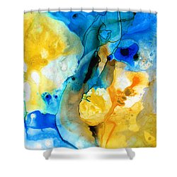 Shower Curtain featuring the painting Iced Lemon Drop - Abstract Art By Sharon Cummings by Sharon Cummings