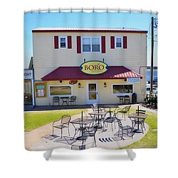 Icehouse Waterfront Restaurant 2 Shower Curtain by Lanjee Chee