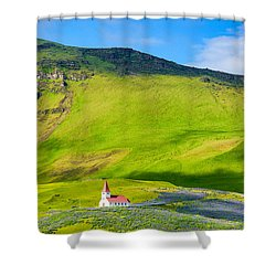 Iceland Mountain Landscape With Church In Vik Shower Curtain