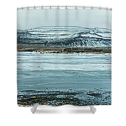 Icelandic Winter Landscape Shower Curtain by Mike Santis