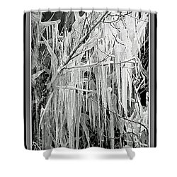Icicles In Black And White Shower Curtain by Carol Groenen