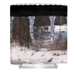 Shower Curtain featuring the photograph Icicles On The Bridge by Nina Silver
