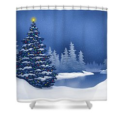 Icy Blue Shower Curtain by Scott Ross