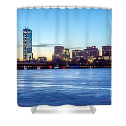 Icy Boston At Dawn Shower Curtain by Mike Ste Marie