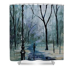 Icy Path - Palette Knife Oil Painting On Canvas By Leonid Afremov Shower Curtain by Leonid Afremov