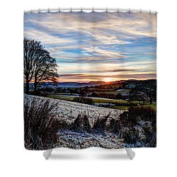 Icy Sunset Shower Curtain by Beverly Cash