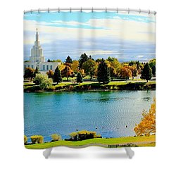 Shower Curtain featuring the photograph Idaho Falls Temple by Benjamin Yeager