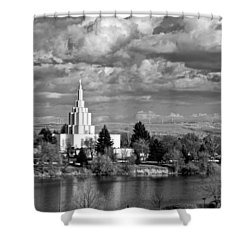 Idaho Falls Temple Shower Curtain by Eric Tressler