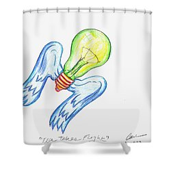 Idea Takes Flight Shower Curtain by Feile Case