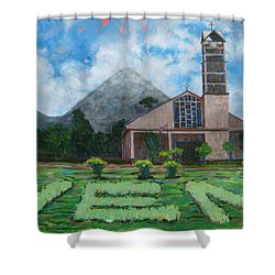 Iglesia La Fortuna  Costa Rica Shower Curtain