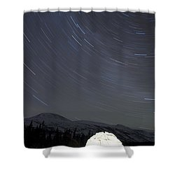 Igloo And Star Trails, Kusawa Lake Shower Curtain by Peter Mather