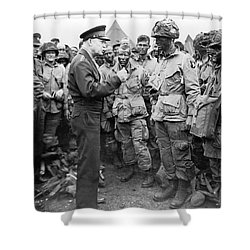 Ike With D-day Paratroopers Shower Curtain