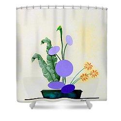 Ikebana #2 Green Pot Shower Curtain