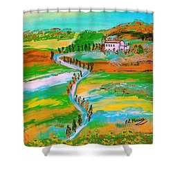 Shower Curtain featuring the painting  Tuscan Countryside by Loredana Messina