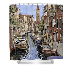 il gatto nero a Venezia Shower Curtain by Guido Borelli