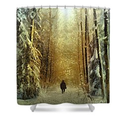 Shower Curtain featuring the painting I'll Be Home For Christmas by Dragica  Micki Fortuna