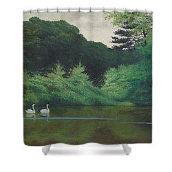 Ille Du Lac Saint James Shower Curtain by Felix Edouard Vallotton