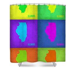 Illinois Pop Art Map 1 Shower Curtain by Naxart Studio
