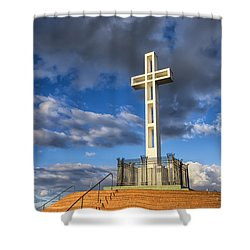 Illuminated Cross Shower Curtain by Joseph S Giacalone
